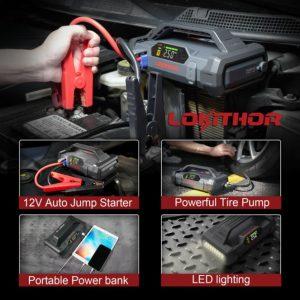 lokithor jump starter LED inflator